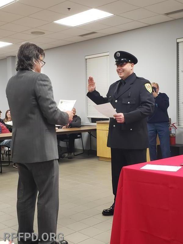 Daniel Bikulcius is sworn in as Firefighter/Paramedic by Trustee Steve Stratakos at the January 14, 2020 board meeting.
