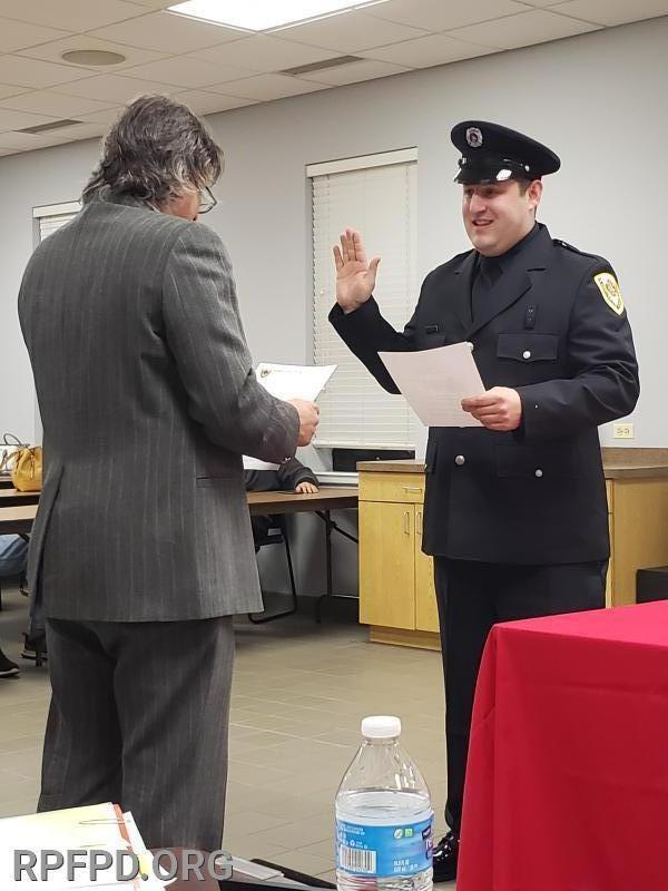 Steve LaRocco is sworn in as Firefighter/Paramedic by Trustee Steve Stratakos at the January 14, 2020 board meeting.